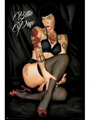 "BETTIE PAGE POSTER ""TATTOOS"" BRAND NEW ""LICENSED"" LARGE SIZE 61 cm X 91.5 cm"