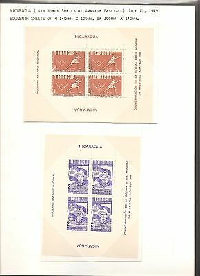 Nicaragua 1949 10th World Amateur Baseball Championships SET of Souvenir Sheets