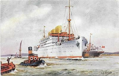 1930s SS Strathnaver Used P & O Line Ship Painting Postcard
