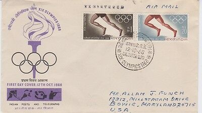 India-1968 XIX Olympic Games, Mexico First Day Cover