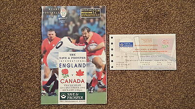 England v Canada - Rugby Union 1994 Programme & Ticket