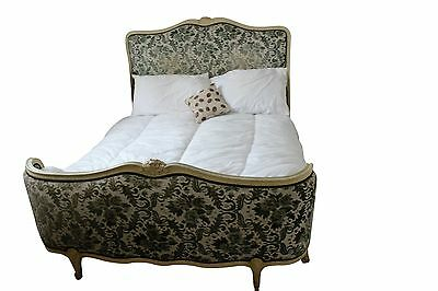 Antique French Early demi Corbeille -Upholstered Double Bed