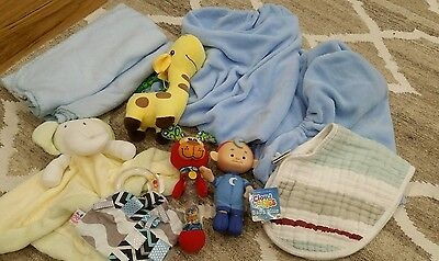 baby boy change mat covers and a few toys/rattle