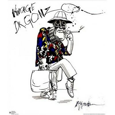 """RALPH STEADMAN POSTER """"Dr GONZO"""" BRAND NEW """"FEAR AND LOATHING IN LAS VEGAS"""""""
