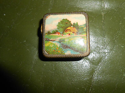 Vintage Tape Measure In Pretty Metal Compact With Picture Of Cottage+River.