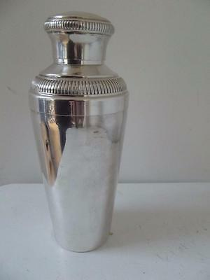 Vintage French 1930's 40's Art Deco style silver plated cocktail shaker
