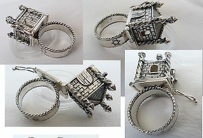 Ring Silver 925 Jewelry Judaica Jewish symbols, stamps