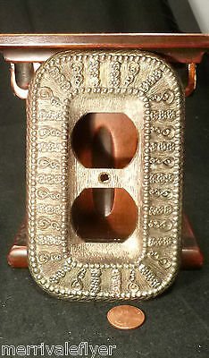 Vintage Metal Outlet Cover SPANISH COLONIAL VICTORIAN Style Brass Tone USA 1968