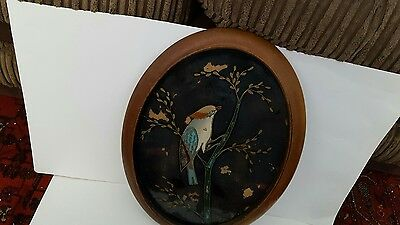 Antique early 20th century Reverse Painting on glass in a wooden oval frame.