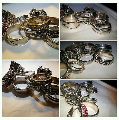 Vintage Sterlling Silver Large Ring lot of 10 rings