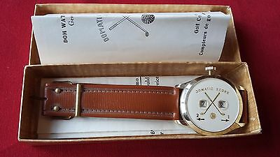 Vintage Golf Domatic Scorer Dom Wrist Watch Swiss Made 1962 Original Boxed