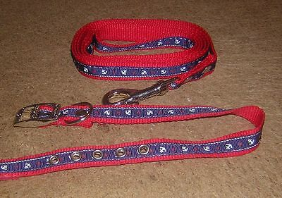 Dog Collar Medium Size And Lead.in Red  In A Strong Nylon.