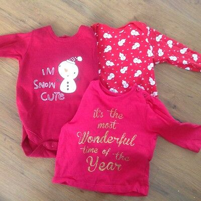 F&F Christmas baby grow and t shirt set 0-3 months