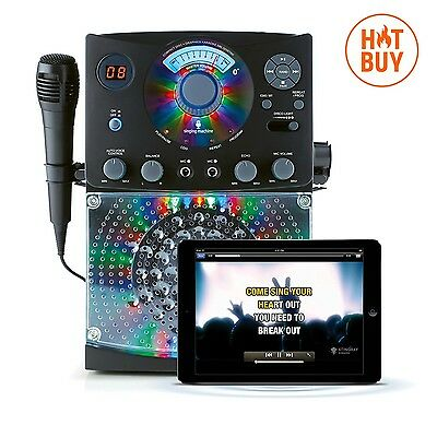 Karaoke Singing Machine System Black CDG Party Player Microphone Disco Light