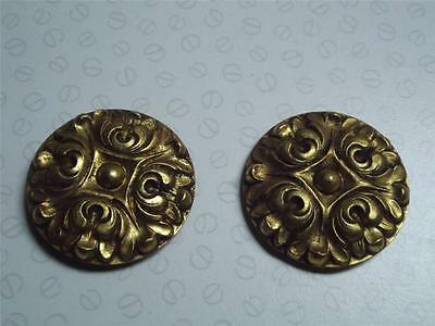 Pair of Vintage French toleware picture hook covers gilded rosettes 4.5cm #2
