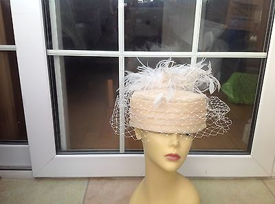 Ladies Vintage Cream Pillbox Hat Brown For Weddings/races/special Occasions New