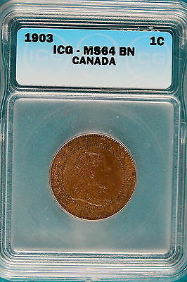 1903 ICG MS64 Brown Canada One Cent!! #B4853