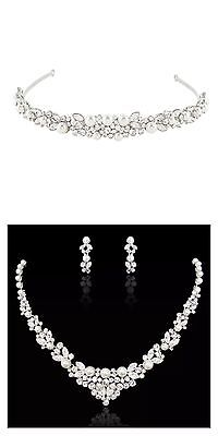 Bridal Wedding Necklace And Tiara Set Clear Swarovski Crystal White Pearls