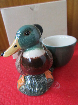 Lovely Mallard Duck With Attached Egg Cup By Quail Pottery