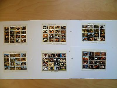 6 Sheets Of Mini Stamps Featuring Wild Animals - Each Stamp Is 2 X 1.5 Cms
