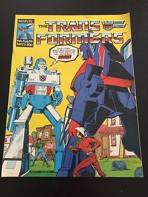 Marvel UK Transformers G1 Issue Number 73 August 1986