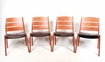 4 Retro Danish Dining Chairs Teak Leather Dining Chairs 1960s 1970s Vintage