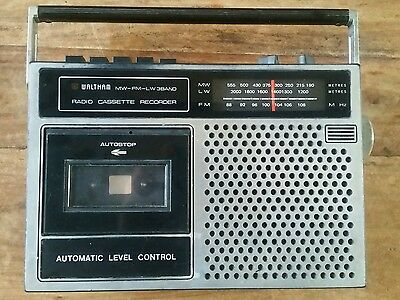waltham w166 radio cassette player recorder retro vintage