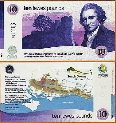 England / Lewes : £10 Banknote, current series,with  low serial number below 200