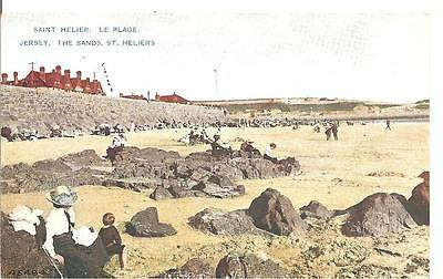 Lovley Vintage Early Postcard,the Sands At St Heliers,jersey