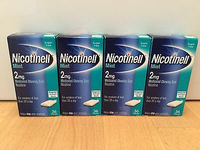 Nicotinell Mint 2mg Gum - 4 x 36 Pieces (144 Pieces Total)