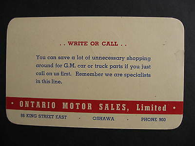 CANADA Ontario Motor Sales GM Oshawa advertising postcard