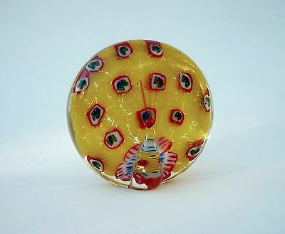 Vintage Millefiori Peacock Art Glass Paperweight