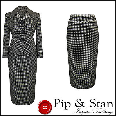 Next Uk10 Us6 Black White Pencil Skirt Suit 1950S Vintage Inspired Womens Size