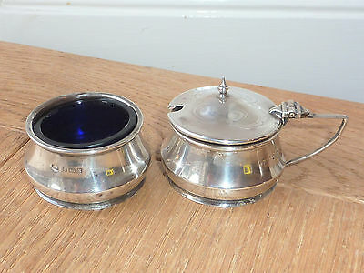 Antique Solid Silver Mustard Pot With Lid And Open Salt Dish. Birm 1922