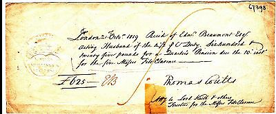 Thomas Coutts Signed Receipt For Daughters of King William IV