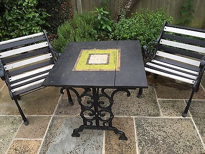 Cast Iron Garden Table And 2 Chairs Solid Wood