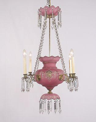 Antique Spanish 4 Light Rose Colored Bristol Cut Glass Chandelier