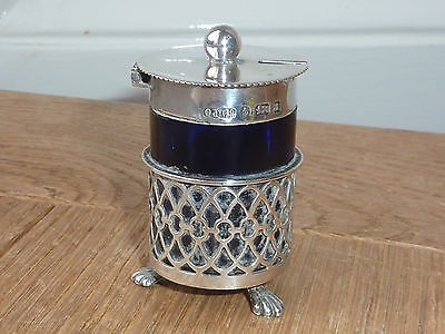 Antique Solid Silver Pierced Mustard Pot With Lid And Glass Liner Birm 1900