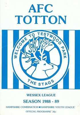 Afc Totton - Bournemouth - Wessex League - 10/12/88