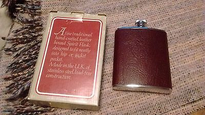 6OZ STAINLESS STEEL LICHFIELD BROWN LEATHER HIP FLASK Made in England vintage
