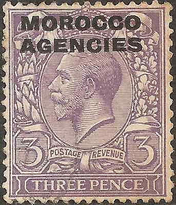 USED 1914 MOROCCO British Post Abroad 3 Pence KING GEORGE V. Bluish-Violet
