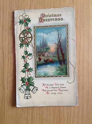 """Christmas Postcard """"Christmas GREETINGS"""". Holly & Bells.Early 1900's. F/G Cond."""