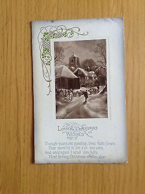Christmas Postcard LOVING CHRISTMAS WISHES. Snowy Scene. Early 1900's. Cond