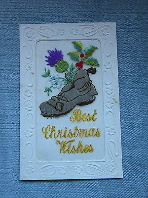 """Woven In Silk """"best Christmas Wishes"""" Boot/thistle/holly"""