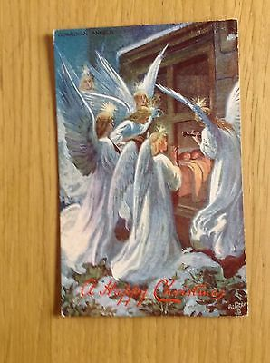 Christmas Postcard by Tuck GUARDIAN ANGELS A Happy Christmas 1909.  Gd. Cond