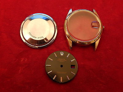 Rolex 14K Gold Filled Oyster Perpetual Date 1550 Case And Dial Parts