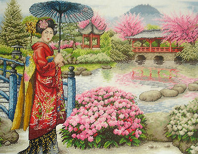 Maia Completed Counted Cross Stitch Tapestry Unframed Picture Japanese Garden