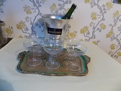 6 x Champagne Saucers Vintage French