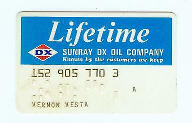 Vintage Sunray DX Oil Company Lifetime Credit Card