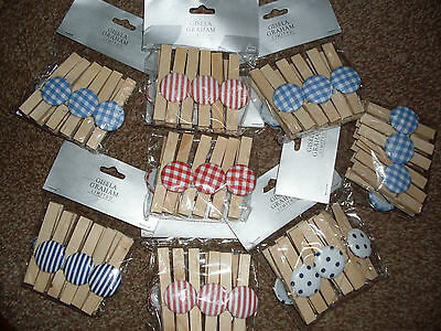 Wholesale Lot Of 8 Gisela Graham Packs Of Decorative Wooden Pegs Brand New